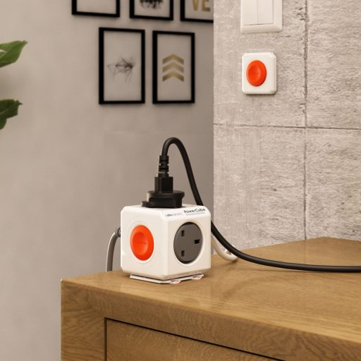 allocacoc powercube extended remote set 15m 4 way wall socket adapter outlet with kinetic remote button queens orange1532 978255 1400x 512x512 - توصيلة مع ريموت باور كيوب تحكم مع اربع منافذ كهرباء الوكاكوك